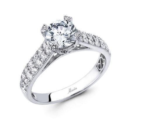 Diamond Engagement Ring to Hold Round Center