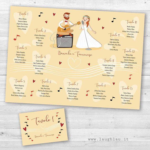 Tableau Mariage And Segnatavoli Music Theme Musicians Wedding Invitation Original And Illustrated Tableau Marriage Wedding Kit Wedding Musicians