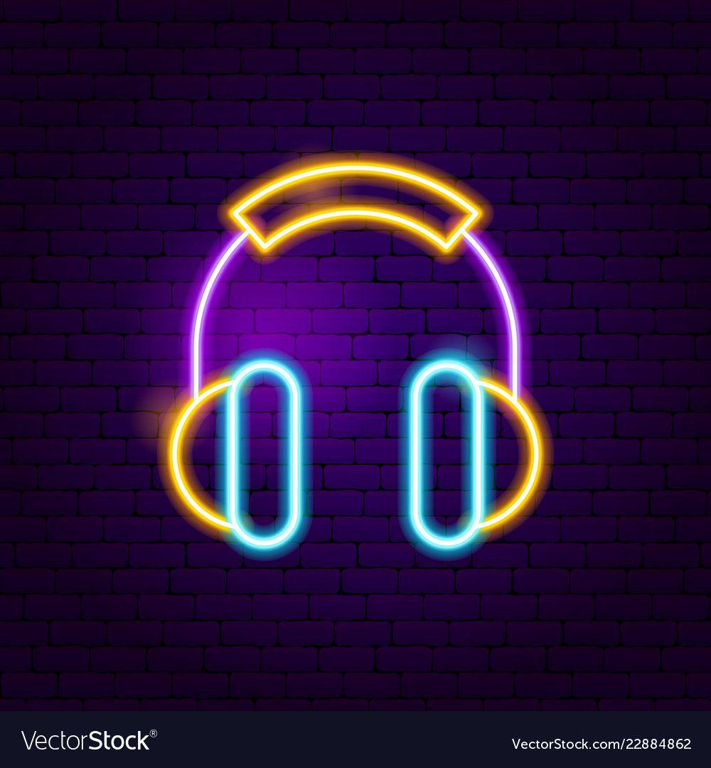 Headphones neon sign vector image on Placas de néon