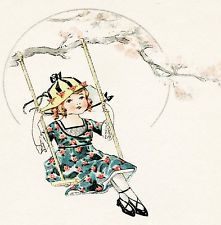 "Retro Vintage little girl flower skirt hat swing tree fun play cushion cover 18"""