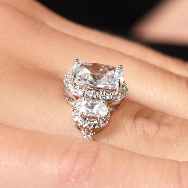 Emily S 3 Stone Halo Cushion Cut Engagement Ring It S A Fairy Tail