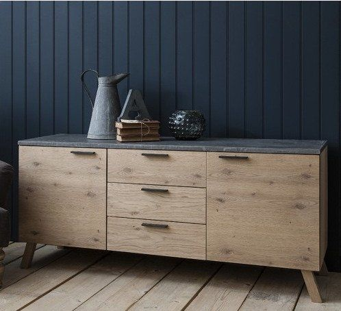 Standford Large Reclaimed Wood Industrial Sideboard Oak