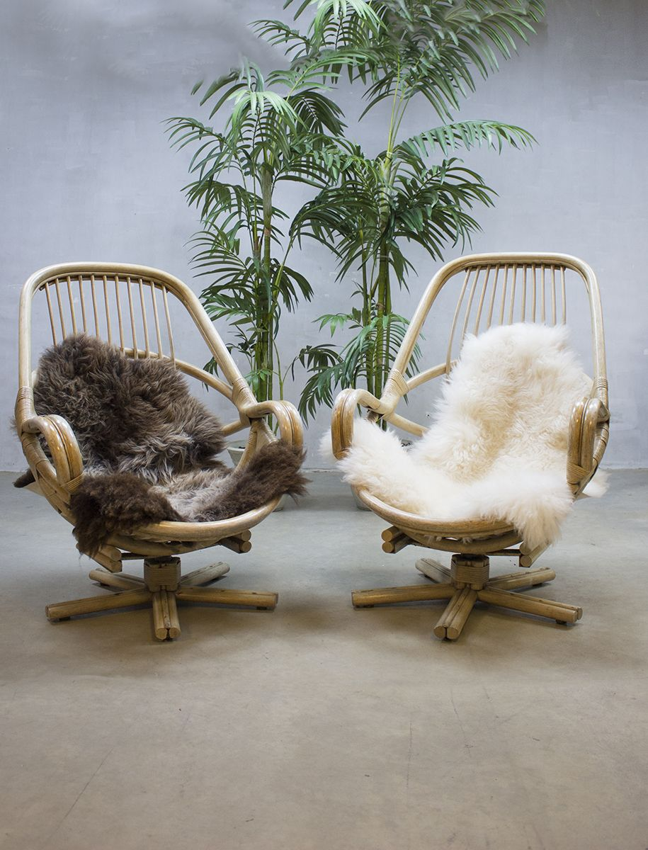 Rotan Manou Draaistoel.Vintage Bamboo Swivel Chairs Bamboe Lounge Fauteuils Inrichting