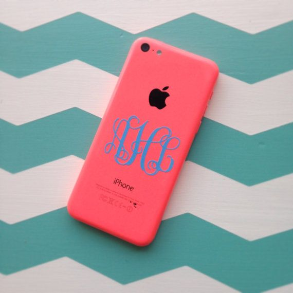 Monogram vinyl decal sticker for iphone cell phone personalized monogrammed initials set of 2 by chickadees