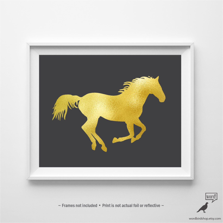 Matte Gold Horse Art, Equestrian Decor, Girls Room Art, Nursery ...