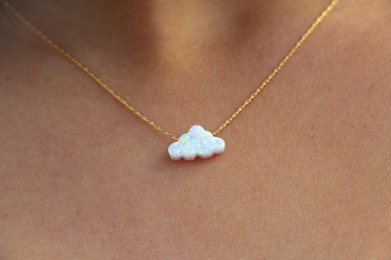 Opal necklace, Opal cloud necklace, White Opal necklace, Opal Jewelry, White cotton candy cloud, fluffy cloud Silver Gold children necklace