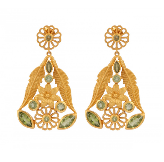 Floral Bell Peridot and Gold plated Earrings Gold