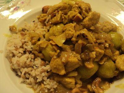 Spruitjes curry (met kip en rijst)