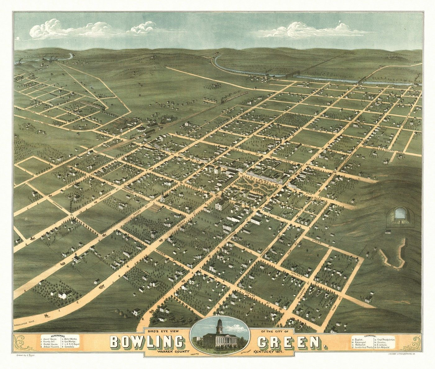 Antique Map of Bowling Green Kentucky Poster
