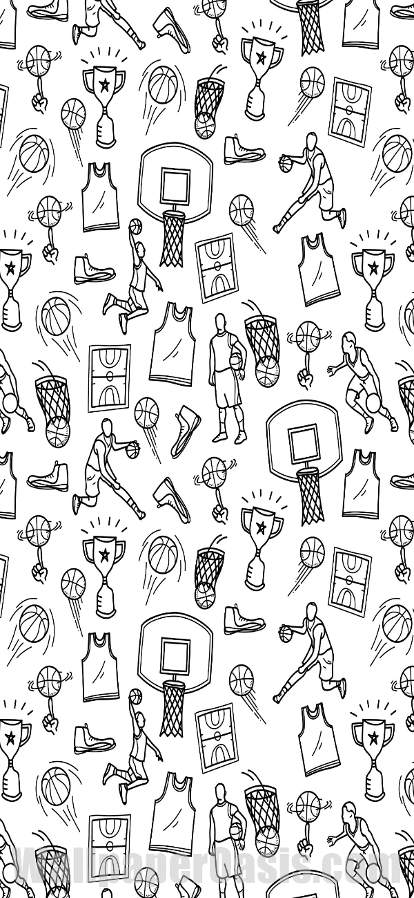 Black And White Basketball Doodle Iphone Wallpaper In 2020 Basketball Iphone Wallpaper Basketball Wallpaper Basketball Doodle