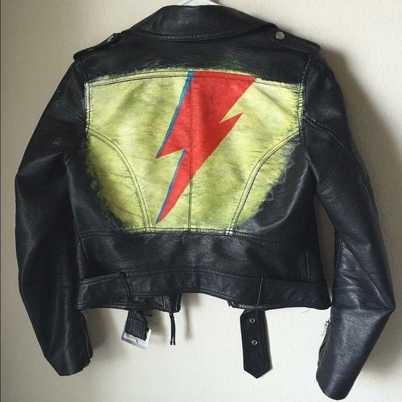 David Bowie Faux Leather Jacket Hand Painted Faux Leather David Bowie S Ziggy Stardust Jacket Is H M Size 6 L Jackets Faux Leather Moto Jacket Leather Jacket