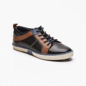 Sneakers cuero negro y camel