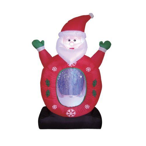 4 Foot Tall Christmas Lighted Inflatable Snowman Snowflake Snow Globe Decoration