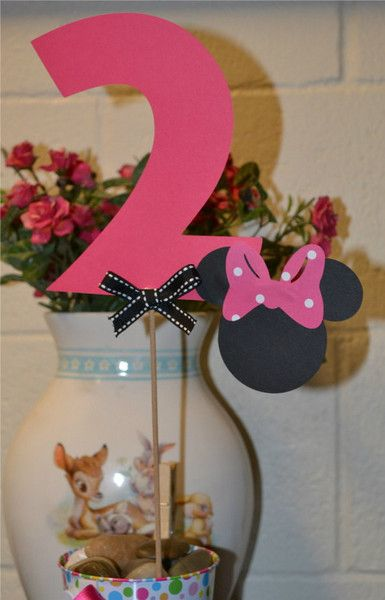 Minnie Mouse Black and Pink Age Table Toppers 1 set of 3 Minnie