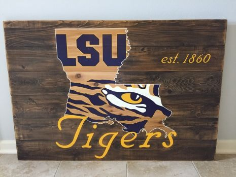 LSU Tigers wood sign 36x48, reclaimed wood, Original Design, Louisiana, wall art, wood sign, with LSU est. date