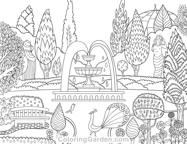 Free printable Victorian garden adult coloring page Download it