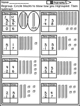 double digit subtraction with regrouping worksheets and posters education subtraction with. Black Bedroom Furniture Sets. Home Design Ideas