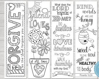Bible Journaling Printable Margin Strips Coloring Templates Scripture Bookmark Proverbs 16 Micah 6 17 Colossians 3