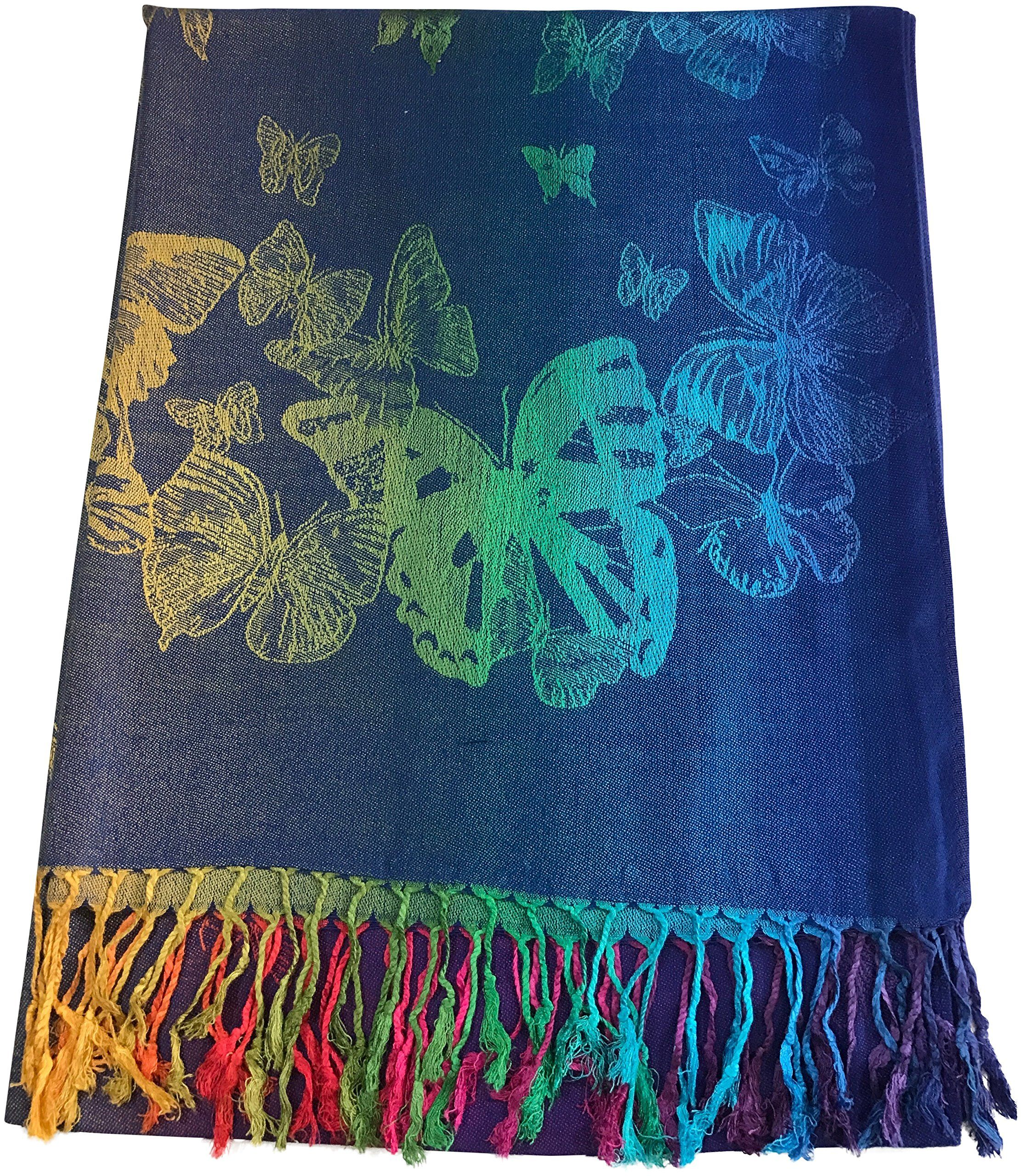 Royal Blue & Purple Butterfly Design Shawl Pashmina Scarf Wrap Stole Throw CJ Apparel NEW