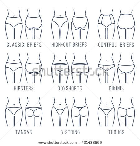 3b477d4b9a Female panties types flat thin line vector icons set. Woman underwear  fashion styles collection. Girl body front