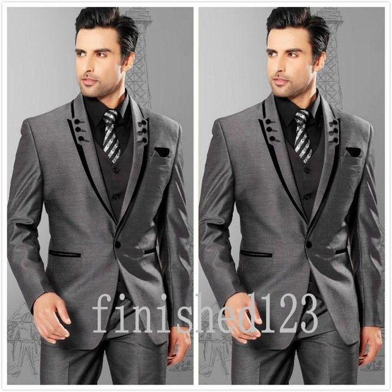 Click to Buy << Fashionable One Button Grey Groom Tuxedos Groomsmen ...