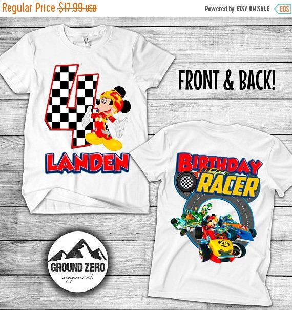 Grand Opening Mickey Mouse Roadster Racer Birthday Shirt Personalized With Name And Age Mickey Mouse Roadster Birthd Birthday Shirts Birthday Tee Mens Tops