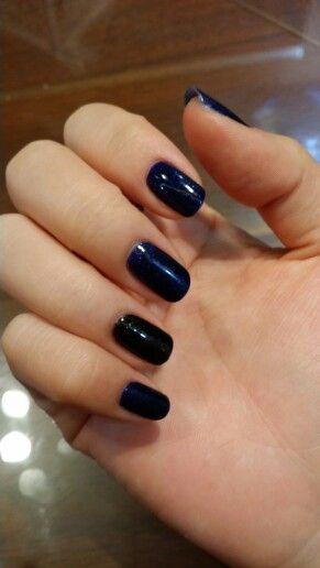 #nail#blue#pearl#black#gel#셀프네일