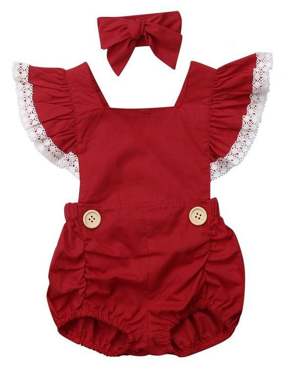 b6aa8f16bfb2 SHOP Our Red Frilly Romper for Baby Girls