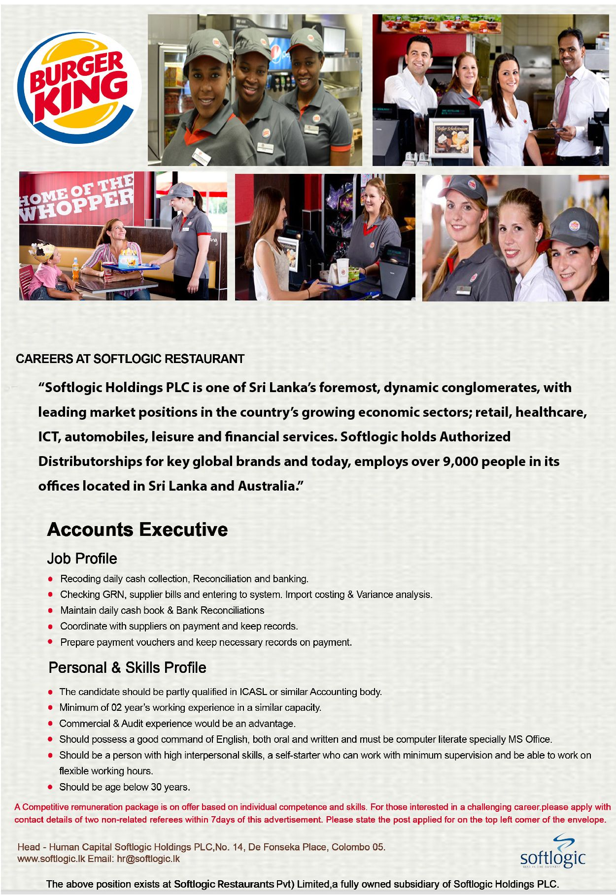 Accounts Executive at Softlogic Holdings PLC | Career First