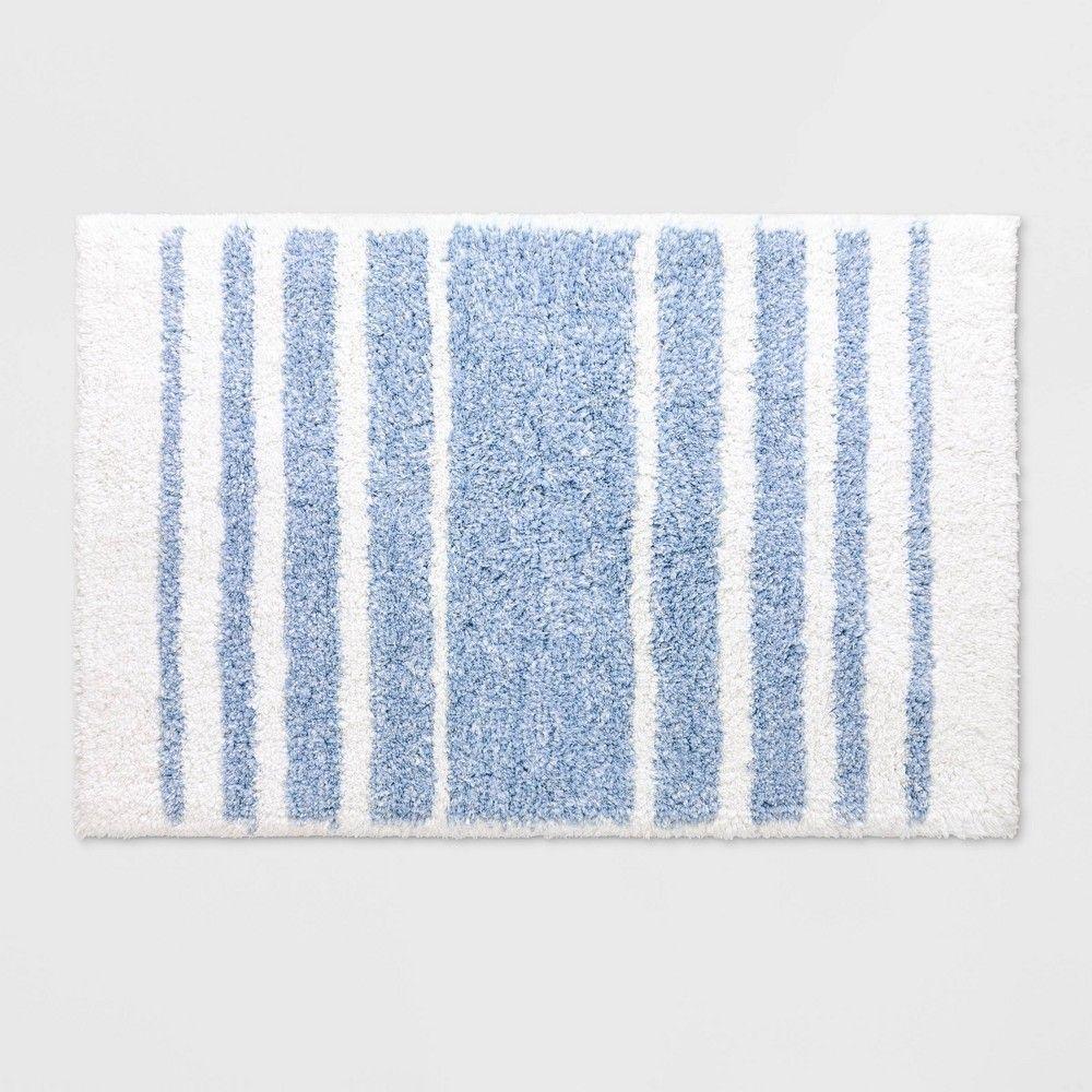 Chambray Stripe Blue Bath Rug Blue Threshold Blue Bathroom Rugs Blue Bath Rug Bathroom Rugs And Mats [ 1000 x 1000 Pixel ]