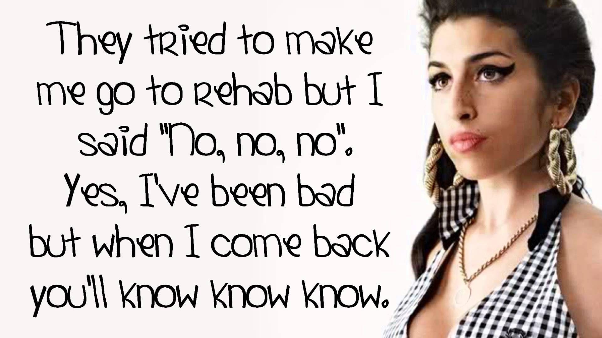 Amy Winehouse Rehab Lyrics On Screen Hd Rehab Lyrics Amy