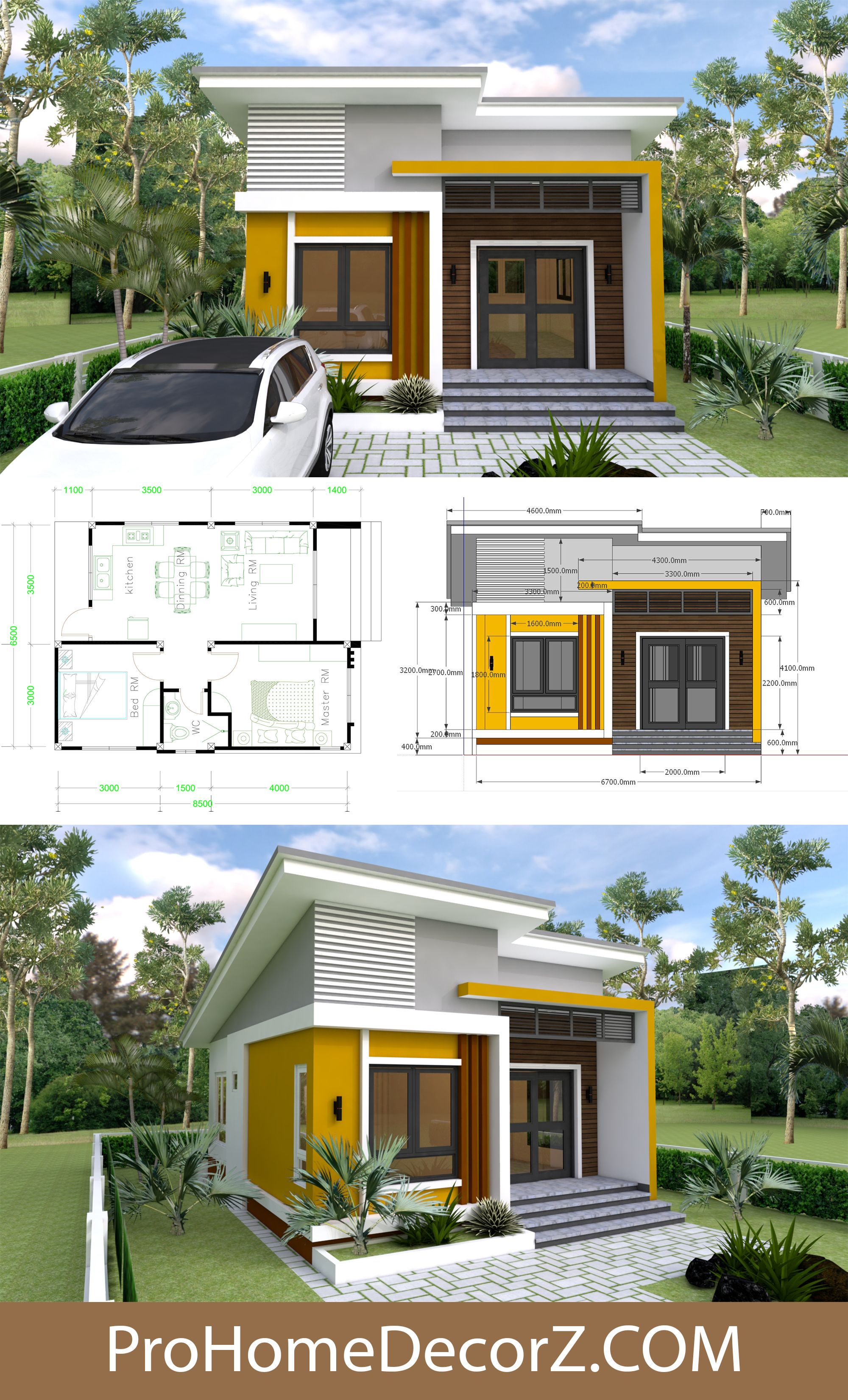 Small House Design 6 5x8 5 With Shed Roof 2 Bedrooms In 2020 Small House Design Small House Exteriors Best Small House Designs