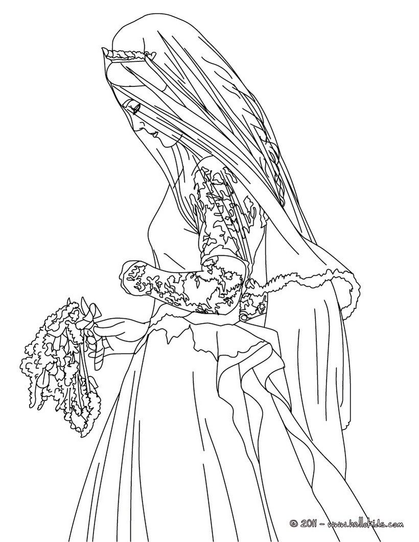 bride coloring pages Bride Kate Middleton coloring page. More Kate and William Content  bride coloring pages