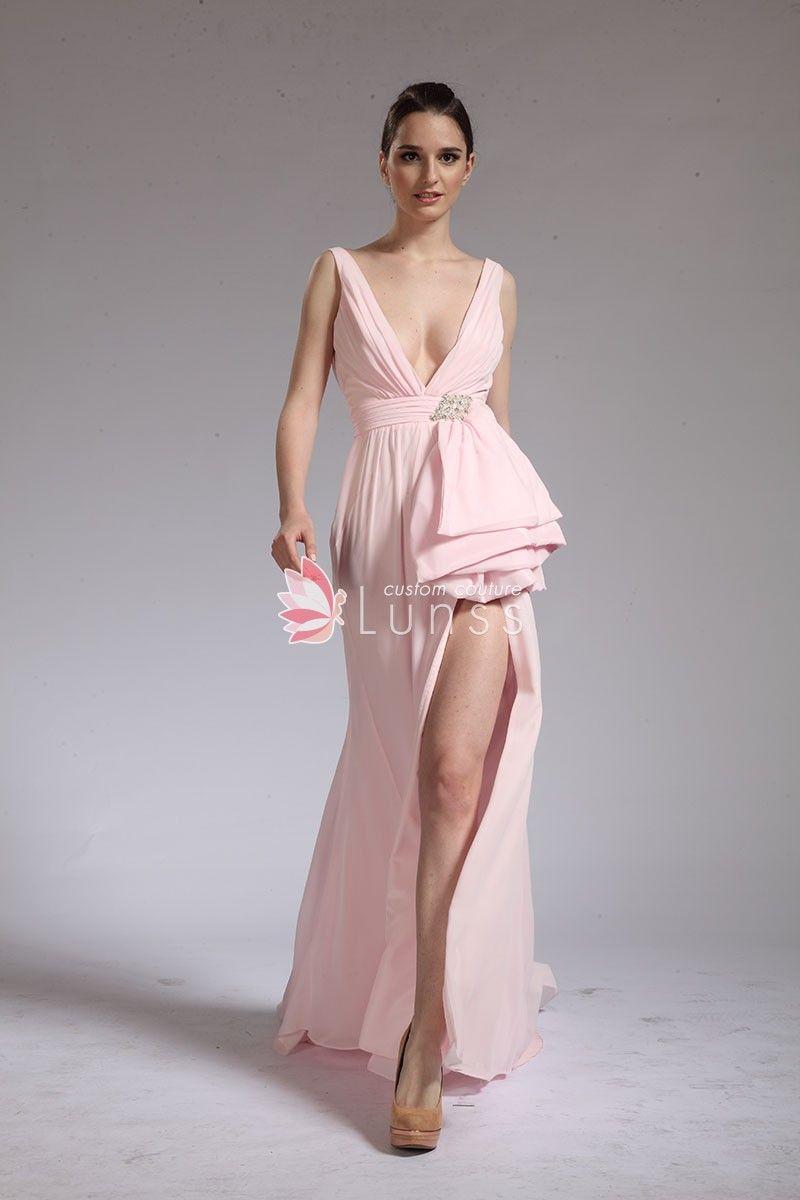 62f22f81db5 Sexy Plunging V neck Light Pink Chiffon Prom Dress with thigh high slit
