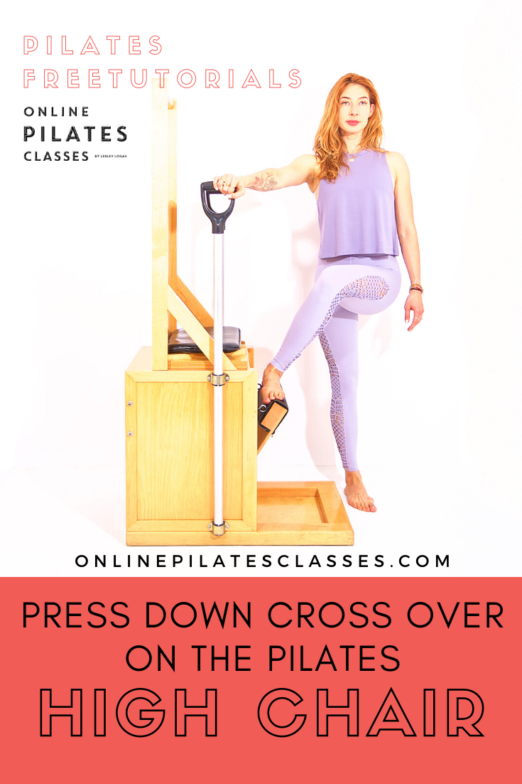 Press Down Cross Over on the Pilates High Chair typically comes after the Press Down Sides. They are...