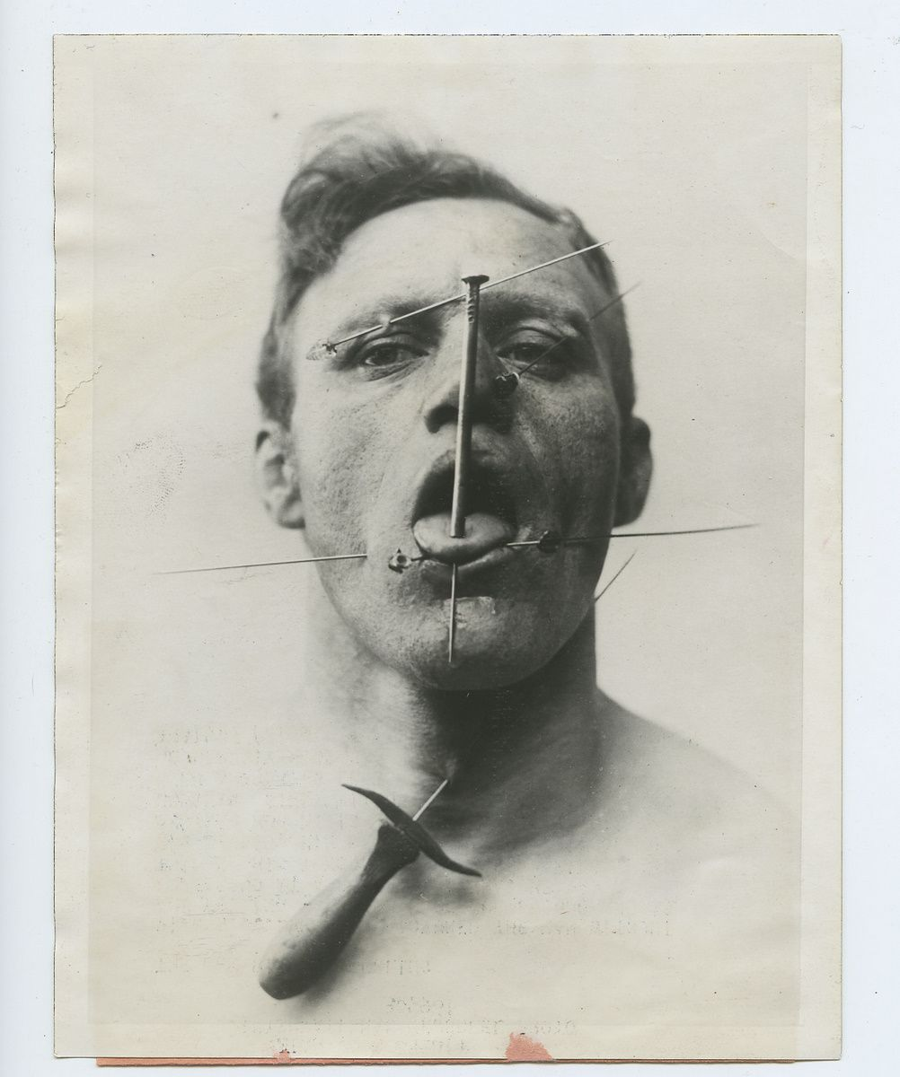 Nose piercing in 30s  The Pierced Man a circus performer from the us  Oddities