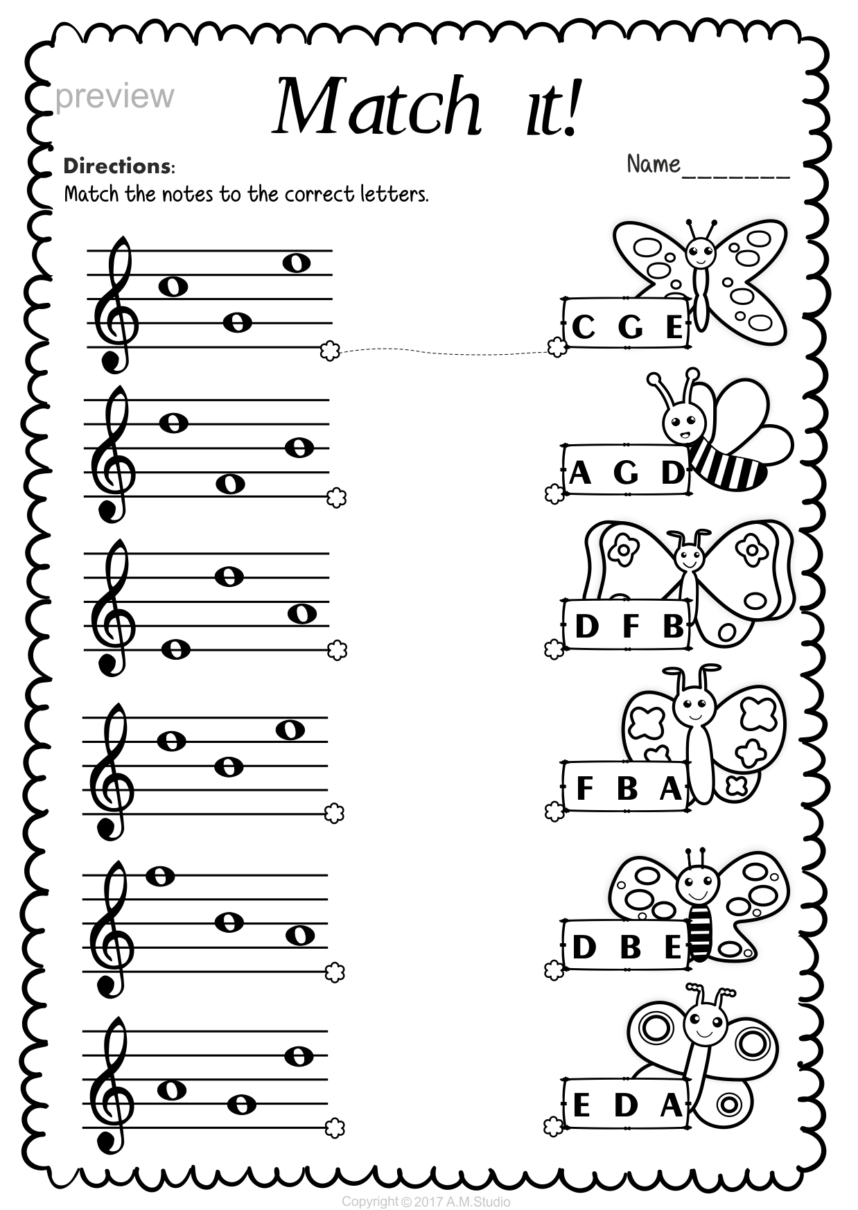 Treble Clef Note Naming Worksheets for Spring | Music ...