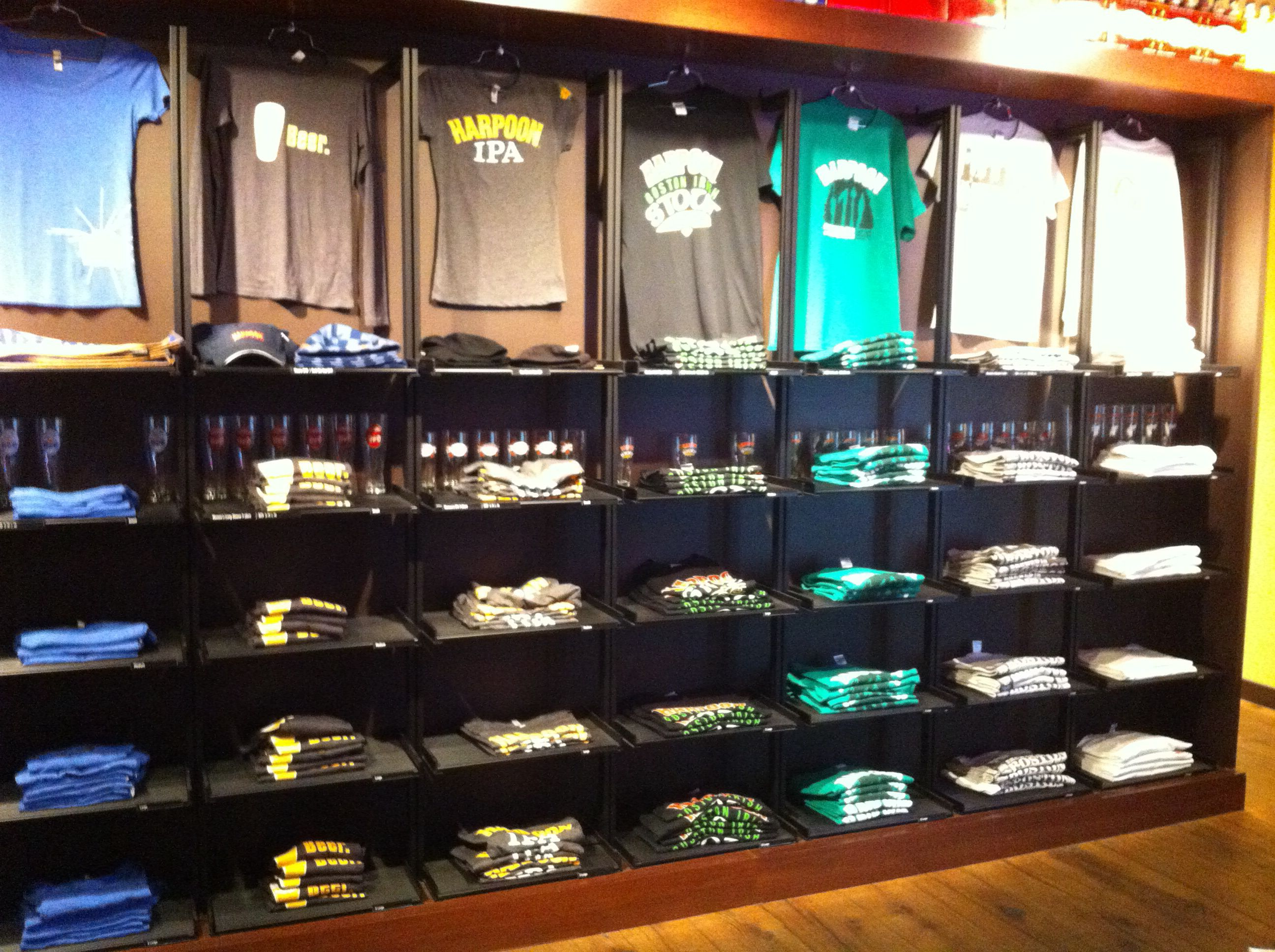 Tshirt wall Harpoon Brewery gift shop Boston, MA Gift