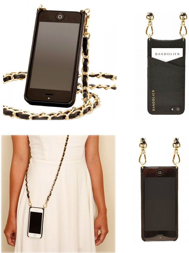 4f8c96925ee Bandolier iPhone 6 Cross Body Holder with Gold Chain