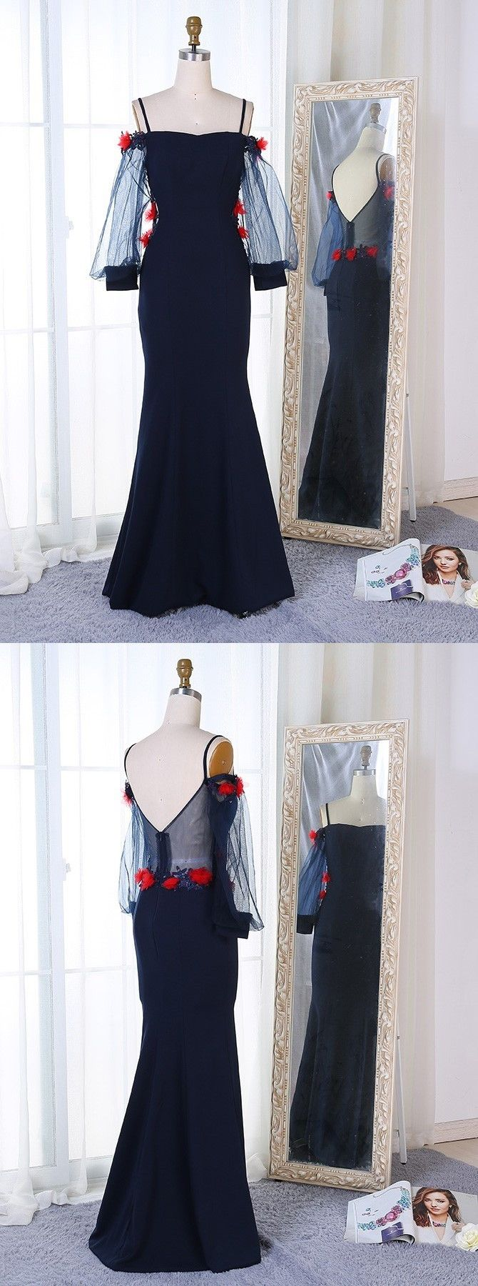Mermaid spaghetti straps navy blue prom dress with flowers sleeves