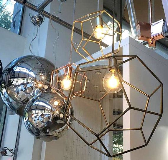 Minimal Industrial Geometric Cage Chandelier Pendant Light Welded With Iron As The Is Handmade