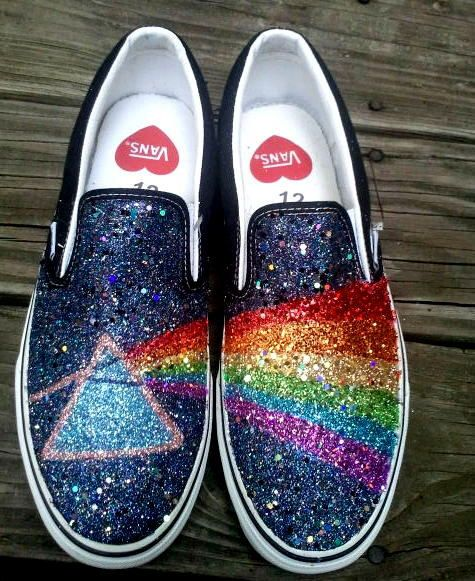f0b7631ac4f0 GLITTER RAINBOW pink floyd dark side of the moon prism handpainted black  VANS slip on sneakers unisex any size on Etsy