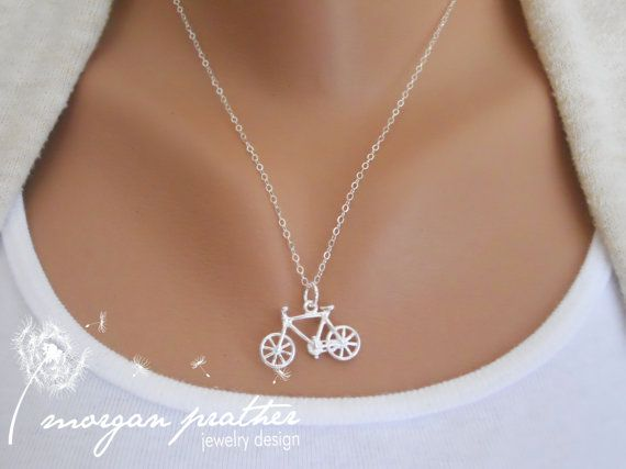 Sterling Silver Bicycle Necklace Little by thelovelyraindrop