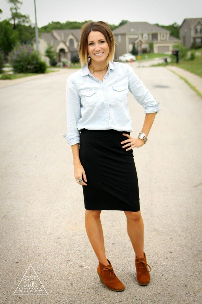 denim shirt black pencil skirt wedge ankle boots same