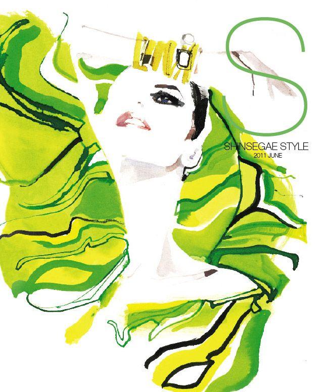 Shinsegae Style Korea June 2011   fashion illustration by David Downton