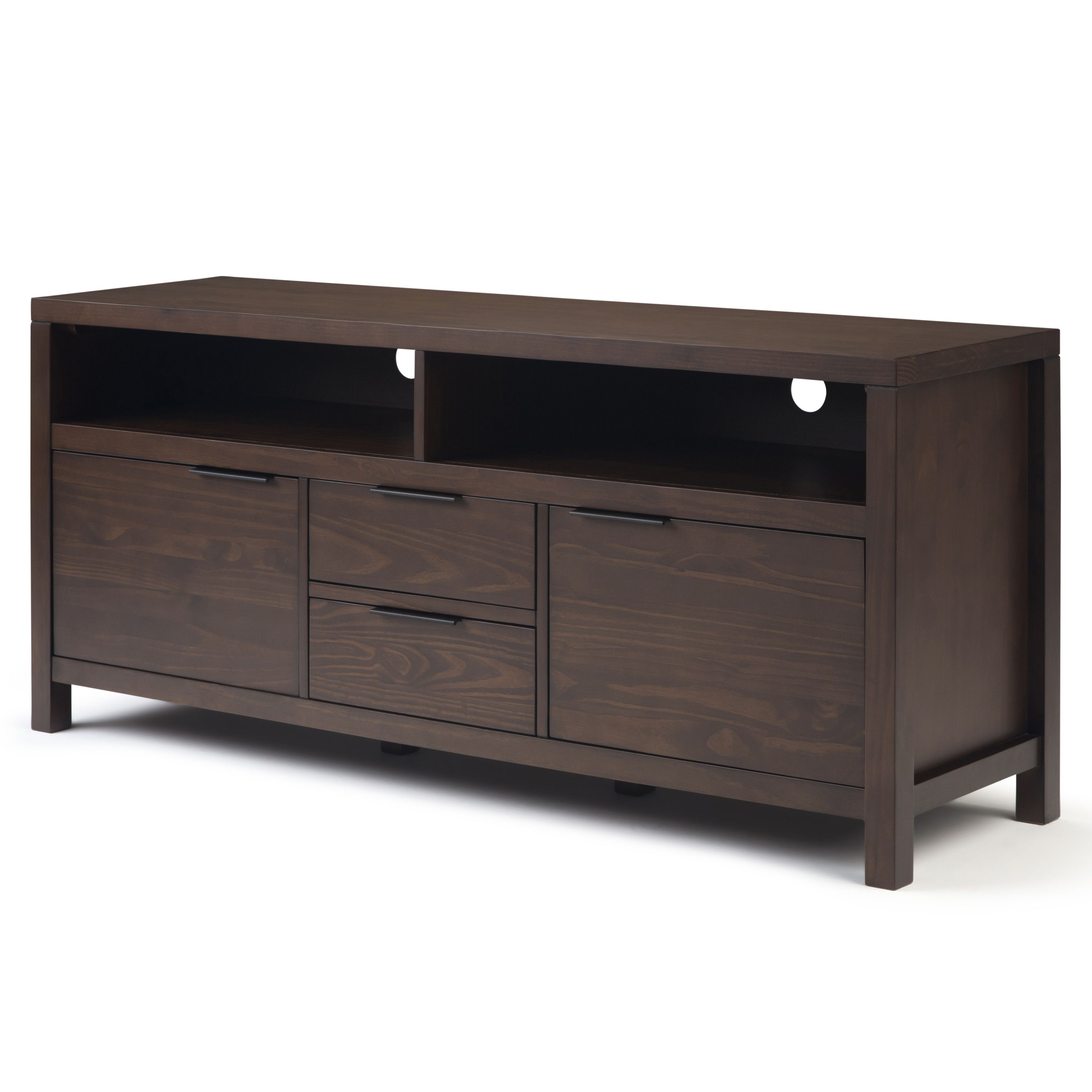 Brooklyn Max Auster Solid Wood 60 Inch Wide Contemporary Modern Tv Media Stand In Warm Walnut Brown For Tvs Up To 65 Inches Walmart Com Modern Tv Tv Media Stands Modern Contemporary Design