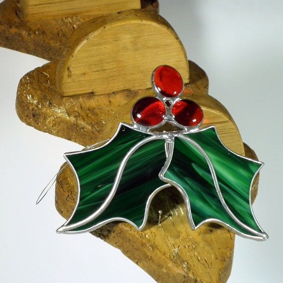 Holly Berry 3 D gekleurd glas suncatcher, kerstboom ornament en raam decoratie