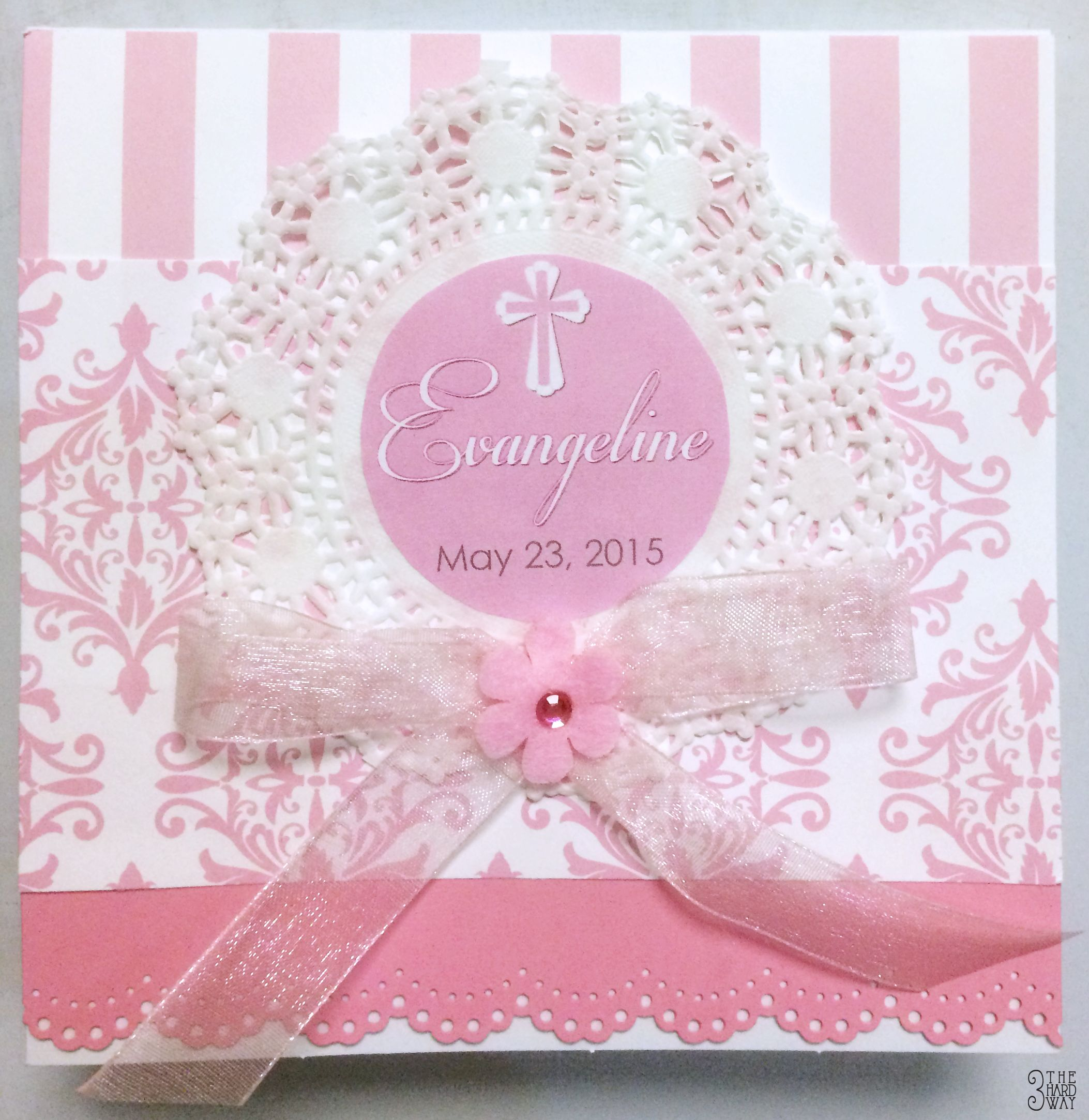 Hand made Invitation to my God Daughter Eva's Baptism. Team Effort We made over 40 using Card stock, Scrapbook Paper, Dollies, Specialty punches, Organza ribbon, double sided tape & glue dots. And lots of trips to Michael's :)