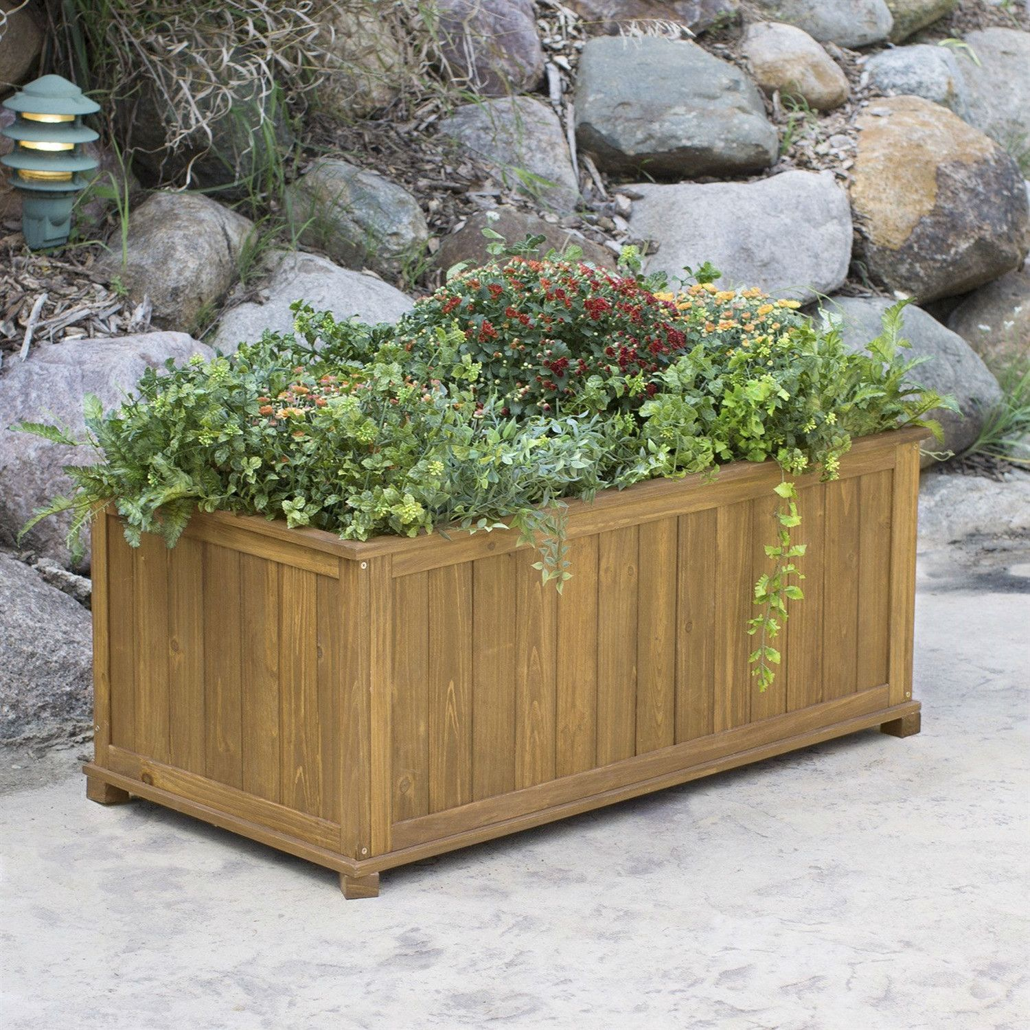 Outdoor 41 in Durable Raised Patio Planter Box in Oak Wood Finish