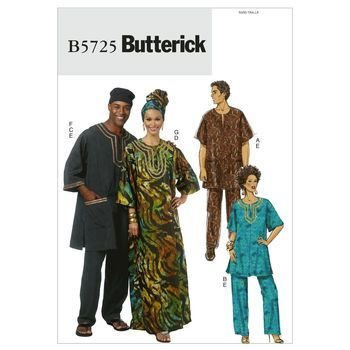 Butterick Pattern B5725 Adult Tunic, Caftan, Pants, Hat & Head Wrap ...